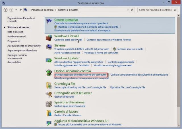 Richiedi la password alla riattivazione - Pannello di controllo - Windows 8.1