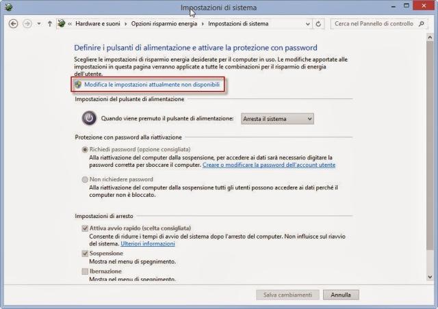 Modifica impostazioni non disponibili - Pannello di controllo - Windows 8.1