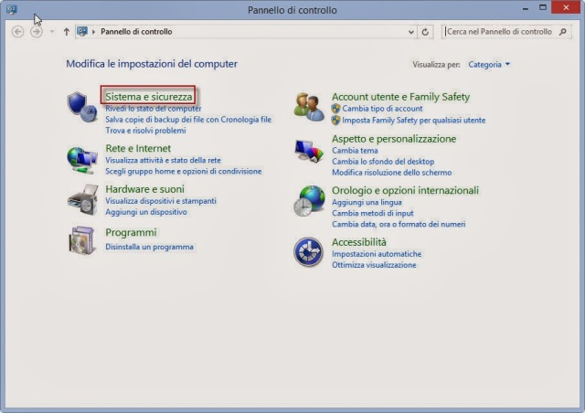 Sistema e sicurezza - Pannello di controllo - Windows 8.1